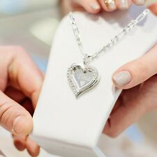 925 Sterling Silver Heart Pendant Any Personalized Name Necklace Mother day gift