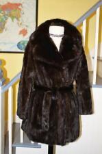 Glamorous Vintage MINK Fur Coat Belted Real SABLE Fur Collar Women's L