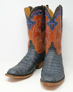 Lucchese Classics Exotic Men's Navy Blue Sueded Cayman Cowboy Boots 11D