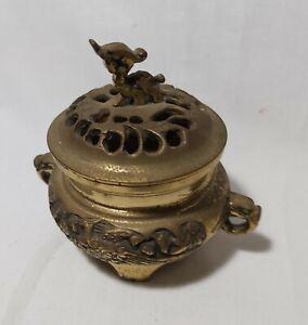 Vintage Asia solid brass censer H10cm