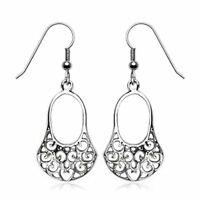 Victorian Style Filigree Dangle Earrings Surgical Stainless Steel Hypoallergenic