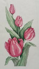 Finished Handmade CrossStitch Needlepoint Pink Tulips Flowers Unframed Completed