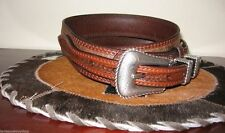 3D GENUINE LEATHER BULLHIDE MENS WESTERN BELT RANGER 1 3/8 RODEO BELT SZ 44
