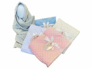 BABY GIRL BOY NEWBORN BUBBLE FLEECE BLANKET SOFT TOUCH 75X95 CM Luxury Gift