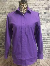 Foxcroft Purple Button Front Pocket Womens Long Sleeve Sz 4