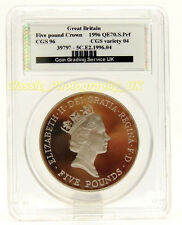 Great Britain Five Pound Crown 1996 Graded Slabbed Coin CGS 96 Variety 04 !RARE!