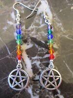 Tibetan Silver Wicca Pentagram Pentacle Chakra Crystals Artisan Earrings