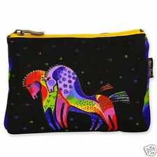 Laurel Burch Rainbow Horses Black Red Blue Purple Canvas Cosmetic Zipper Bag NWT