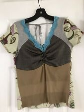 muchacha mixed media top with lace trim, tie back, size S