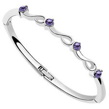 18K White Gold Plated made with Swarovski Crystal Elements Bangle Bracelet..