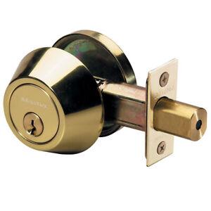 MASTER LOCK Steel Deadbolt Polished Brass Single Cylinder DS0603KA4 KW1 Cylinder