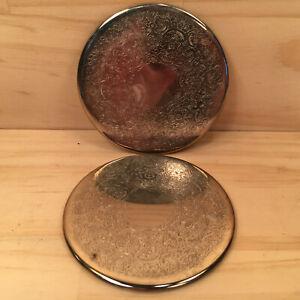 "2pk REGAL FLORAL ""Silver"" Beautiful Decorative Coasters Silverplated Metal Mats"