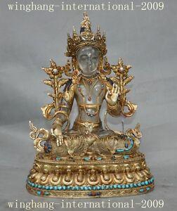 Old Tibet crystal inlay bronze 24K Gold Turquoise gem white tara Guanyin statue