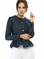 Women's Peplum Button Down Cropped Ruffle Hem Denim Jackets
