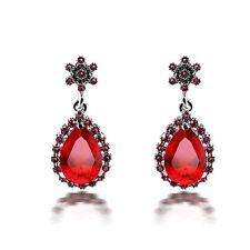 Vintage Style Silver Tone Red Teardrop Crystal Flower Drop Earrings E927