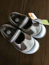 NWT CROCS Dawson Girls Mary Jane Shoes Sky Blue/Chocolate Size 1