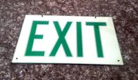 Vintage Green and White Exit Sign, Plexiglass *FREE SHIPPING*