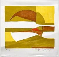 Zimolong: Geometrische Komposition. [19]67. Signierter Original-Linolschnitt.