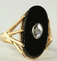 VINTAGE 1970'S 10K GOLD ONYX DIAMOND TALL OVAL RING SIZE 5 3/4