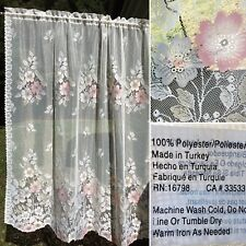 "AUTHENTIC RETRO VINTAGE TRANSLUCENT SEE THROUGH FLOWER CURTAIN PANEL 60"" X 64 ""L"