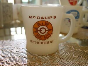 Fire-King McCalip's A&W Root Beer Drive-In Restaurant Advertising Coffee Mug