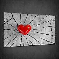 BEAUTIFUL SHINY RED HEART ON CRACKED WOOD BOX CANVAS PRINT WALL ART PICTURE