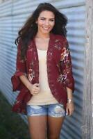 Outwear Women Long Sleeve Floral Cardigan Loose Sweater Jacket Coat Lace Blouse