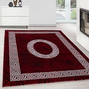 Designer Teppich Modern Kurzflor Marmor Optik Mäander Muster Schwarz Rot Weiß