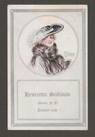 [71617] 1915 POSTCARD ARTIST SIGNED BEAUTIFUL WOMAN, ADAMS, NEW YORK INVITATION