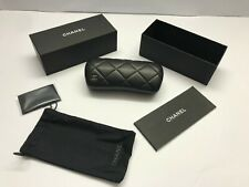 Chanel Case Black CHANEL Eyeglass Eyeglasses Hard Small Sunglasses Leather