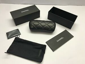 Chanel Case Black Eyeglass Eyeglasses Hard Sunglasses Quilted Leather CHANEL
