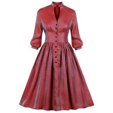 RED Women 50S Rockabilly Hepburn Swing Pinup Lantern Sleeve Evening Party Dress