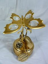 Mascot Inc  -  24K gold plated  -  Butterfly Music Box with Austrian Crystals