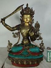 Alte Manjushri Buddha Bronze Tara Türkis Koralle Intarsien original Tibet *1960
