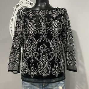 Small womans KAREN KANE Embroidered Lace Blouse Top