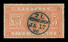 "GREAT BRITAIN 1882 Victoria  £5 orange Sc# 93 (SG 137) used VF ""EDINBURGH JA 17"""
