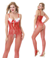 Sexy Womens Christmas Santa Red Bodystocking Jumpsuit Lingerie Costume Sleepwear