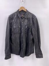 John Varvatos Leather Western Shirt Jacket In Black Size XL