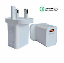 UK Plug 5V/9V/12V Quick Charge QC 3.0 Single USB Hub Wall Charger Adapter