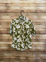 Reyn Spooner Mens Green White Floral Button Up Hawaiian Aloha Shirt Medium