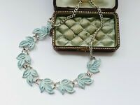 "Vintage 16""  Silver Tone Pale Blue Enamel Leaves Necklace"