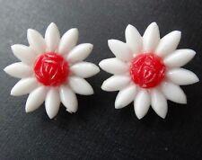 vintage red white daisy flower lucite clip on earrings boho hippy -A21