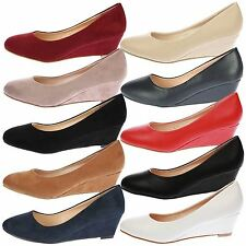 WOMENS WEDGES LADIES LOW HEELS WORK OFFICE COURT SHOES PUMPS CASUAL SIZE NEW