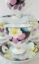 VINTAGE Fine Bone China Tea Cup Saucer Set Serving for Four Made In Korea NEW