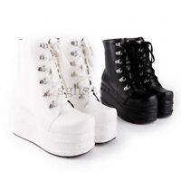 Ladies Punk Rock Style Lolita Lace Up High Platform Ankle Boots Shoes ALL AU Sz