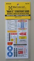 MAIN STREET STOREFRONT SIGNS HO SCALE TRAIN LAYOUT DIORAMA BLAIR LINE 151