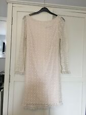 Ladies ATMOSPHERE Pretty Cream White Lace Fitted Bodycon Dress- Size 8 - VGC