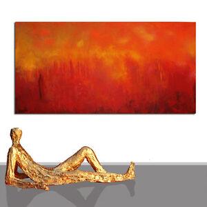 PAINTING XXL RED LAND * LANDSCAPE WALL DECOR MODERN LIVING ROOM ART * 78 x 40