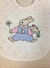 Baby Bib Rabbit Cross Stitch Design Easter 10 x 8 in Tie Neck Cotton Quilted