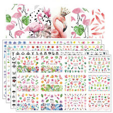 12 Designs Tools Nail Art Stickers Water Transfer Leaf Flowers Flamingo